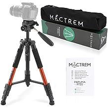 Dreibein-Kamera Stativ aus Aluminium MACTREM PT55 55-Zoll mit Schnellwechselplatte und Tragetasche für Spiegelreflex- und Videokameras von Nikon, Sony uvm(Orange)