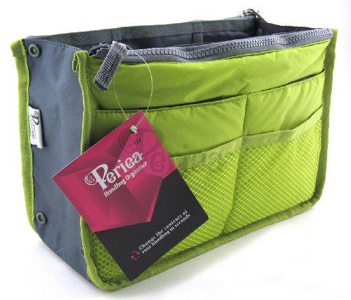 Periea - Organiseur de sac à main, 12 Compartiments - Chelsy (Vert, Grand: H20 x L33.5 x P2-26cm)