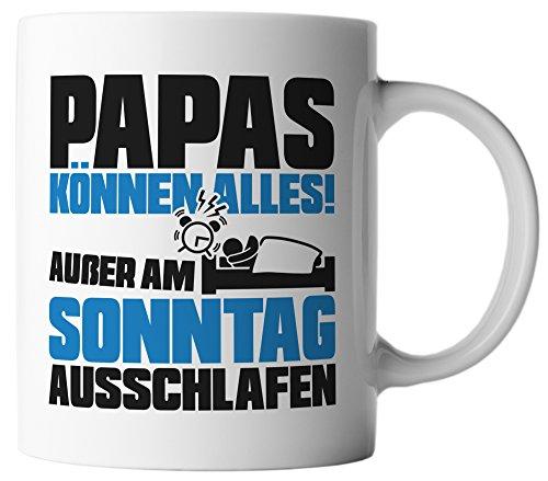 vanVerden Tasse Papa kann alles außer schlafen Vatertag Geschenk inkl Geschenkkarte, Farbe:Weiß/Blau