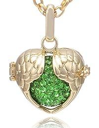 d3be7ee357ed Morella® Damen Halskette Edelstahl Gold 70 cm mit Schutzengel Flügel  Anhänger Gold und Klangkugel Zirkonia