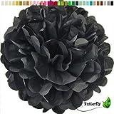 10 Papier Pompons 35cm NEU ( schwarz 030 ) // PomPoms Bommel Kugel Seidenpapier Pom Pom Deko Hängedeko Raumdeko Blumen Pompon