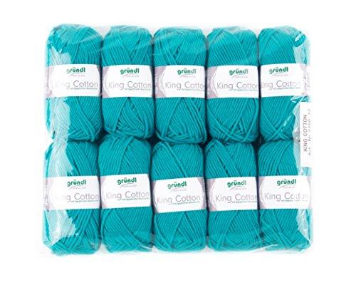 Gründl King Cotton, 1 Packung à 10 x 50 g Knäuel Handstrickgarn, 55% Polyacryl, 45% ägyptische Baumwolle, türkisgrün, 28 x 31 x 7 cm -