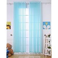 Cortinas HBBMagic de gasa para salón/dormitorio, con ojal superior, 1panel, azul celeste, W130x H160cm