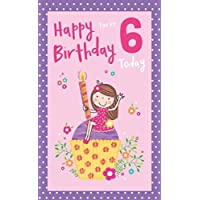 6th Birthday Card - (ICG-7368) - Girl On A Cupcake - from The Molly & Josh Range - Flittered Finish