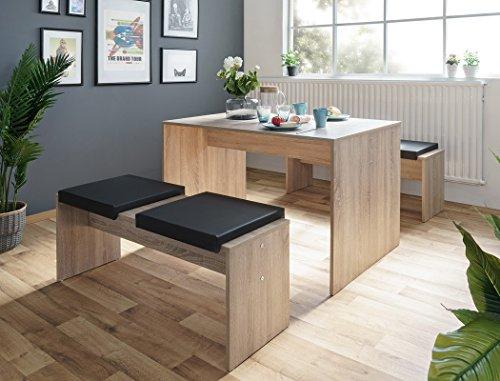 Eiche Tisch-bank (Tischgruppe Potsdam Esstisch 2x Bank Eiche Sonoma 4x Kissen schwarz Essgruppe Sitzbank Esszimmer Küche Wohnzimmer)