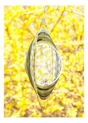 Windspiel Blume des Lebens ø 25 cm aus Edelstahl | Wohn-Dekoration Mobile Lebensblume Spirituelles Symbol | Feng Shui Esoterik Geschenke günstig kaufen