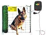 50 m Hundezaun DogFence 30 - anschlussfertig mit Netz (108 cm hoch), Weidezaungerät und Erdung - grünes Netz fällt in natürlicher Umgebung Nicht auf