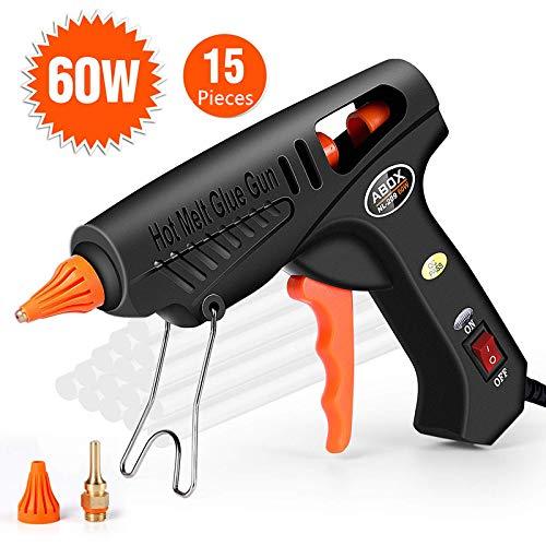Pistola colla a caldo 60 watt con 15 stick di colla, pistola a caldo per fai da te progetti artigianali, imballaggio, uso domestico