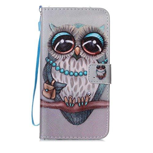 """MOONCASE iPhone 7 Plus Étui, [Smile] Dessin Motif Bookstyle PU Cuir Flip Housse Etui à rabat Portefeuille TPU Case Cover avec Strap Lanière pouriPhone 7 Plus 5.5"""" Owl"""