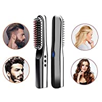 Geggur Beard Straightener Brush,New Upgraded USB Cordless Hair Straighteners Comb Quick Styling Rechargeable Ceramic Beard Brush for All Hair Types Travel Home 2-in-1 For Men Women