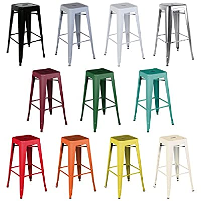 Bentley Home Metal French Style High Bar Stool Bistro Kitchen Breakfast - 11 Colours Available - inexpensive UK light store.