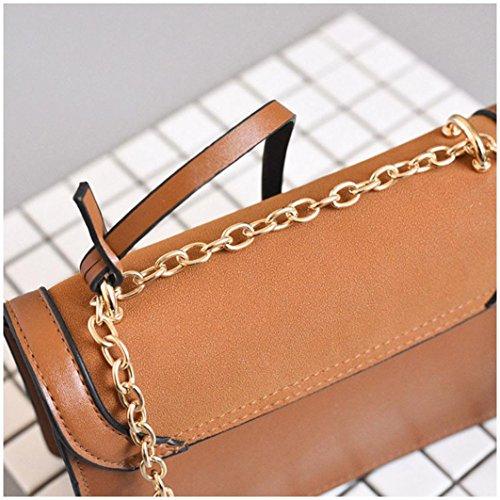 7fb3116817bfb ... BZLine® Frauen Leder Handtasche kleine Messenger Schulter Square  Vintage Taschen Braun ...