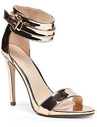 Ideal Shoes - Escarpins ouverts à bride effet métal Shada