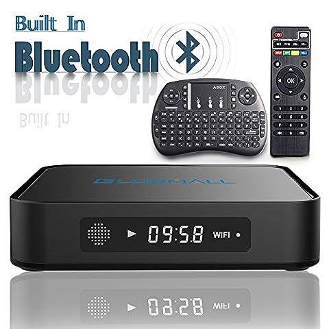 2017 Globmall Android 6.0 TV Box mit Mini Wireless QWERTY Keyboard, 2017 Modell X1 4K Android TV Box 1GB RAM 8GB ROM und Bluetooth 4.0 mit Quad Core CPU 64 Bits AmlogicS905X