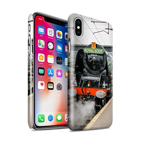 STUFF4 Glanz Snap-On Hülle / Case für Apple iPhone X/10 / Dominion NZ/Blau Muster / Dampflokomotive Kollektion Duchess/Bahnsteig