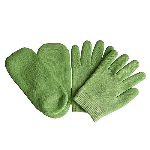 Gel Feuchtigkeitsspendende Handschuhe Spa-Socken Baumwolle für trockene rissige Fersen Füße Hautreparaturbehandlung für große Männer und Frauen in trockener Hände (1 Paar Socken&Handschuhe) (Grün)