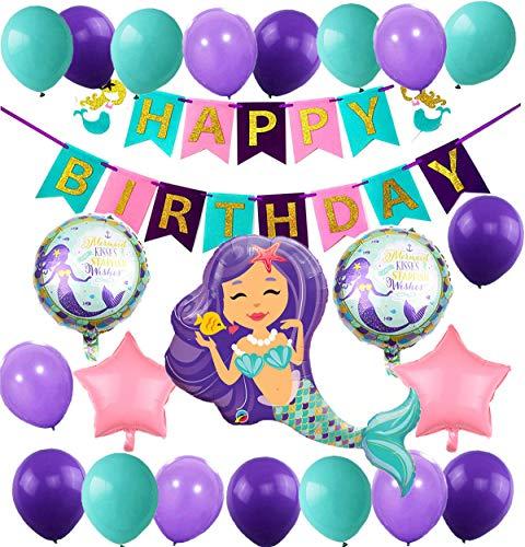 Thema Party Dekoration Geburtstag Deko Mädchen Folienballons Meerjungfrau Happy Birthday Girlande Luftballons Lila und Blau für Meerjungfrau Partyzubehör ()