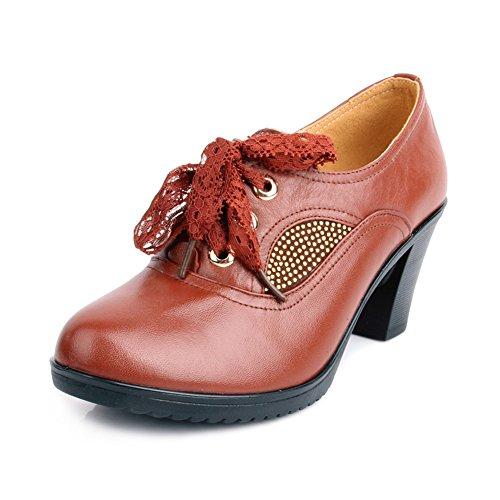 Chaussures de femmes d'âge moyen/Chaussures talons Chunky/ Chaussures de travail de maman/Chaussures à semelle souple A