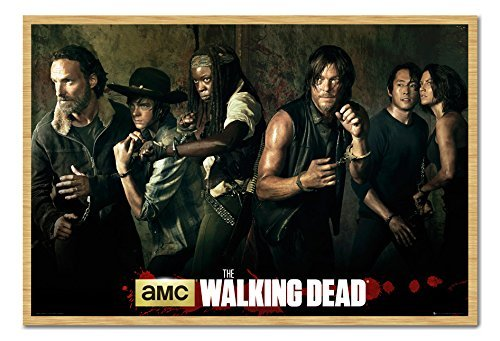 The Walking Dead Season 5 Poster Cast Buche gerahmt & seidenmatt laminiert, 96,5 x 66 cm (ca. 96,5 x 66 cm) Bilder Von The Walking Dead Cast