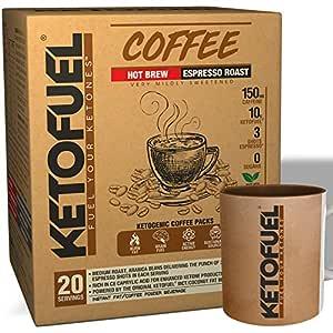 Ketofuel® Coffee HOT Brew (Espresso Roast) Keto Coffee Powder with Coconut MCT Oil 20 pks + Free Coffee Mug