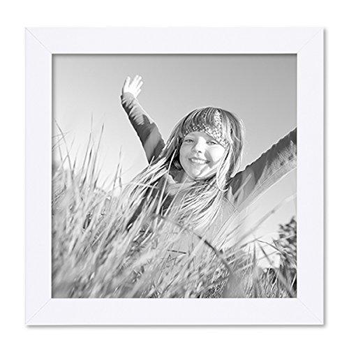 PHOTOLINI Bilderrahmen 20x20 cm Weiss Modern aus MDF mit Glasscheibe und Zubehör/Fotorahmen