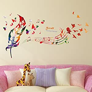 Amazon Brand - Solimo PVC Vinyl Wall Sticker for Home (Song of Birds, Ideal Size on Wall , Multicolour, 119 Cm X 71 Cm)
