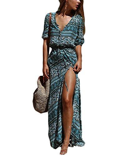 Mujer Vestido Largo Floral de Vintage con Cuello en v Bohemia Vestido Manga Larga Maxi Vestido para Playa Stripes 5 L