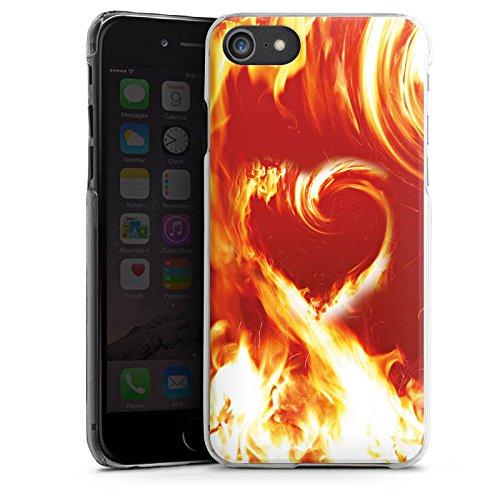 Apple iPhone X Silikon Hülle Case Schutzhülle Fire Liebe Brennendes Herz Hard Case transparent