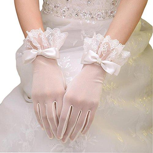 Hochzeit Braut Handschuh (RuiyuhongE Kurz Brauthandschuhe mit Finger Hochzeit Handschuhe mit Spitzenbesatz und Aufgesetzte Satinschleife (Elfenbein B))