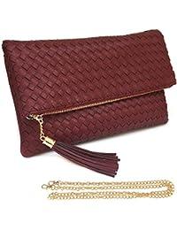 Women Flap Envelop Clutch Bag Tassel Faux Leather Crossbody Messenger Chain Strap (Dark Red) By Solene