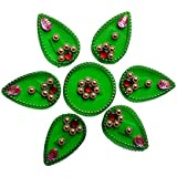 Handmade Elegantly Designed Green Rangoli - With Tear Drop Shape Design Decorated With Multicolour Stones And Beads On Red Green Square Shaped Plastic Base - 7 Pieces Set - Packed In Transparent Pouch