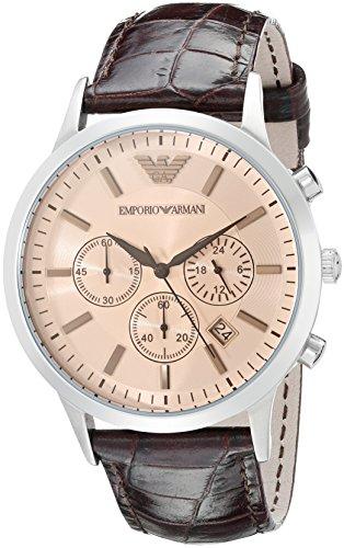 Emporio Armani Hommes Chronographe Quartz Montre avec Bracelet en Cuir AR2433