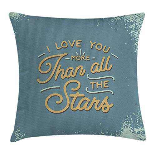 I Love You More Throw Pillow Cushion Cover, Vintage Letters and Grunge Look with Romantic Saying Love Affection, Decorative Square Accent Pillow Case, 26 X 26 inches, Slate Blue Amber - Amber Kings Crown
