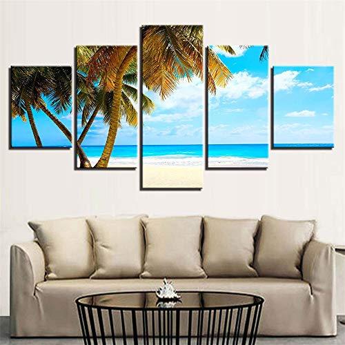 Comeyang Wohnzimmer Inkjet fünf Wandmalerei nach Hause Sofa Hintergrund dekorative Malerei rahmenlose,Rock Seascape 13 Bemalungskern 40x60cmx2 40x80cmx2 40x100cmx1 - Fisch-aquarium-rock-hintergrund