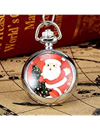 Reloj de bolsillo para niños con diseño de árbol de Navidad y Papá Noel rojo, cuarzo, analógico, plateado
