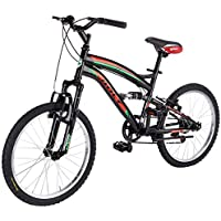 """Frejus Full Suspensión - Bicicleta de montaña 20"""",  Unisex, 6 velocidades, cuadro acero, Negro/Verde"""