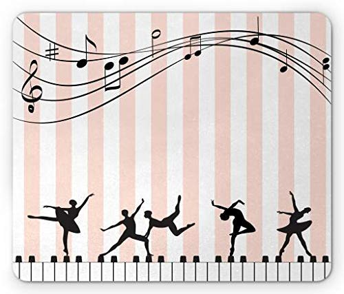 Musical Mouse Pad, Ballets and Ballerinas Performing a Show on Keyboards and Candy Stripes, Standard Size Rectangle Non-Slip Rubber Mousepad, Rose White Black