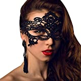 Feelnet Venetian Style Ladies sexy lace Silk mask Halloween Party Party mask (Black)