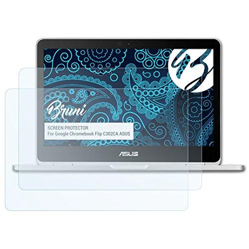 Bruni Schutzfolie kompatibel mit Google Chromebook Flip C302CA ASUS Folie, glasklare Bildschirmschutzfolie (2X)