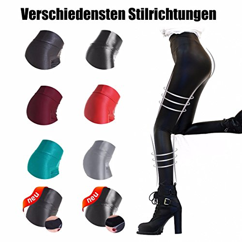 Neu Dünner Flaum Damen Kunstleder High Waist Leggings Skinny PU Leder Hose Leder-Optik Strumpfhosen Treggings Schwarz Matt XXL - 7