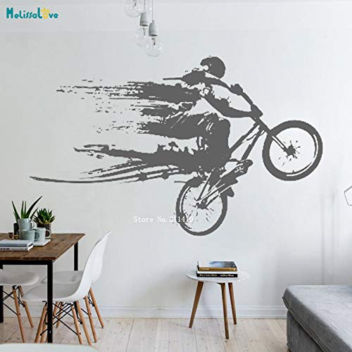 Modeganqingg Bike Race Biker Vinyl Family Art Wall Sticker Decal Decor Competition Speed   Removable Mural Poster Gray 91x56cm