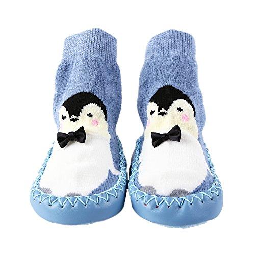 Kinder Socken Hüttenschuh Baby Anti Rutsch Boden Söckchen Niedlich Socke Kindersocken Mädchen und Junge Warm Sock Blau S