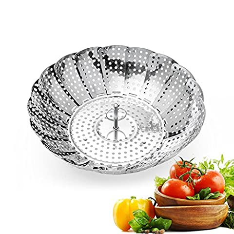 Frideko Stainless Steel Foldable Cooking Steamer Vegetable Basket 5.3 to 9.25 inch Kitchenware for Home Restaurant Dining Room Breakfast Shop (Type A)