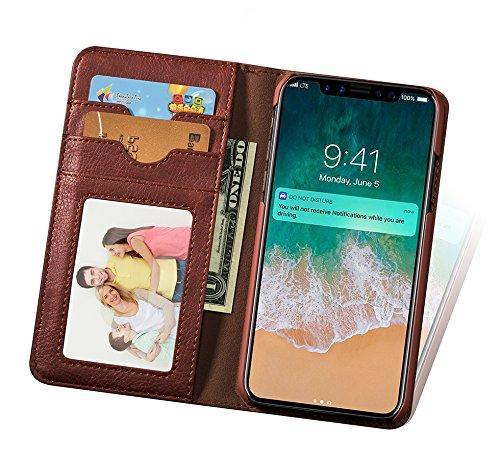 Custodia iPhone X , Custodia in pelle di Retrò Flip Wallet Case Cover per Apple iPhone X/iPhone 10 5,8 Pollici, con Chiusura magnetica (Marrone Scuro) Marrone Scuro