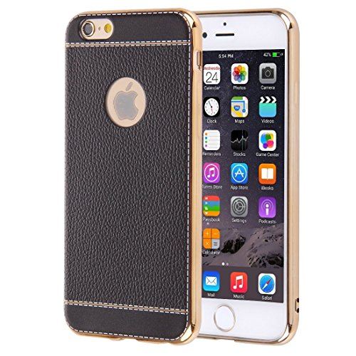 Für iPhone 6 / 6s, 3D Litchi Texture Soft TPU Schutzhülle DEXING ( Color : Black ) Black