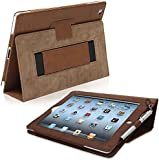 Snugg iPad 2 Leather Case in 'Distressed' Brown Flip Stand Cover with Elastic Hand Strap and Premium Nubuck Fibre Interior Automatically Wakes and Puts the Apple iPad 2 to Sleep