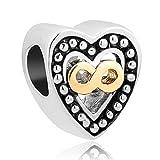 korliya Infinity Herz Charm Bead für Armband
