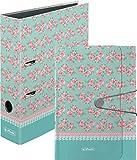 Herlitz 11306016 Fächermappe Ladylike Roses, A4, 12 Fächer mit Gummizug und Verschlußknopf / Kombi-Set (Mappe + Ordner)