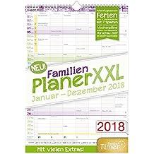 FamilienPlaner XXL 2018 7 Spalten, 34x48cm, Wandkalender Jan-Dez 2018 - Wandplaner, Familienkalender