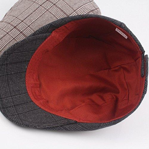 Coton Les Hommes Le Printemps Et L'été Section Mince Casquette à Carreaux Casquette Chapeau âge Moyen Chapeaux Avant Chapeaux Occasionnels Black